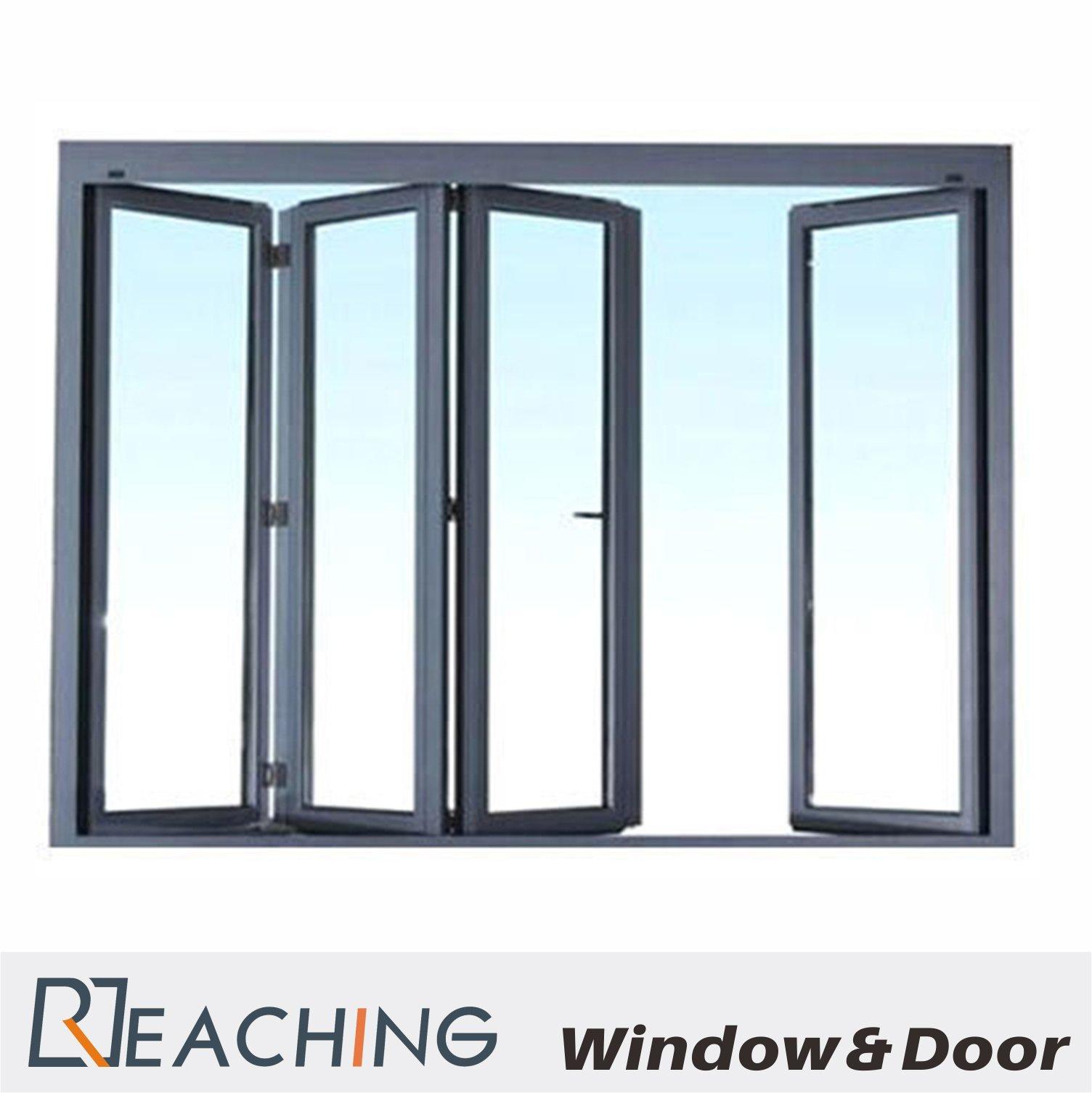 اللون الرمادي والألومنيوم قابل للطي النوافذ والأبواب مع الزجاج المزدوج والدليل على المياه من الشركة المصنعة في الصين Reaching Build Co Ltd